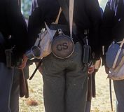 Confederate soldier re-enactor. Typical confederate soldier from US Civil War outfitted for battle Stock Image