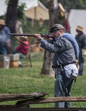 Confederate  Soldier Takes Aim Stock Image