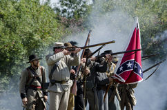 Confederate soldiers fighting Royalty Free Stock Photos