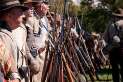 Confederate soldiers with rifles Stock Images