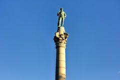 Confederate Soldiers` & Sailors` Monument. It depicts a bronze Confederate private standing on top of the pillar, which is composed of 13 granite blocks to stock images