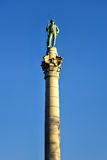 Confederate Soldiers` & Sailors` Monument. It depicts a bronze Confederate private standing on top of the pillar, which is composed of 13 granite blocks to stock photography