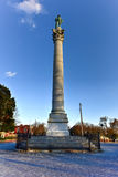 Confederate Soldiers` & Sailors` Monument. It depicts a bronze Confederate private standing on top of the pillar, which is composed of 13 granite blocks to stock photos