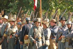 Confederate soldiers stand in review before battle Royalty Free Stock Image