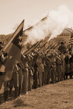 Confederate Troops Firing Muskets stock photos