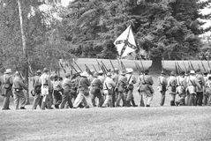 Confederate troops marching in column formation Royalty Free Stock Photos