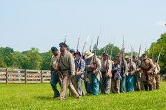 Confederates marching Stock Photo