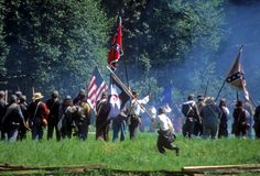 Confederates volley fire royalty free stock photo