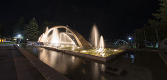 Confederation Arch Fountain at Night, Kingston Stock Image