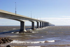 The Confederation Bridge in Canada. The Confederation Bridge between Borden-Carleton in Prince Edward Island and Cape Jourimain in Brunswick, Canada Stock Photography