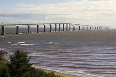 The Confederation Bridge in Canada. The Confederation Bridge between Borden-Carleton in Prince Edward Island and Cape Jourimain in Brunswick, Canada Royalty Free Stock Image