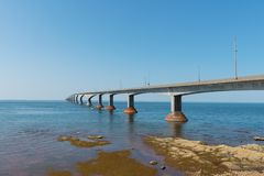 Confederation Bridge over Northumberland Strait. Confederation Bridge connecting Prince Edward Island and New Brunswick, Canada Stock Photo