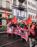 Confederation generale du travail workes with red banner placard Stock Photography