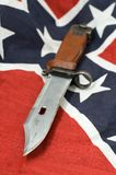 Confederation knife. Army knife on Flag of the Confederate States of America Royalty Free Stock Images