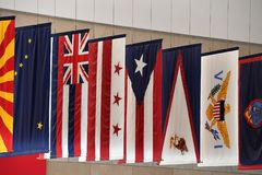 Confederation many states united states of america flags. Detail Royalty Free Stock Image