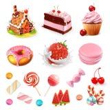 Confeitos e sobremesas Morango e leite, bolo, queque, doces, pirulito Grupo do ícone do vetor ilustração stock