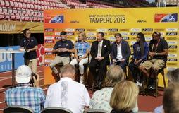 Conferência de imprensa dos campeonatos do mundo U20 de Tampere 2018 IAAF Fotografia de Stock