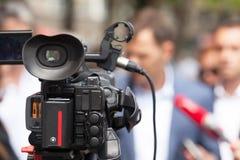 Conferência de imprensa Entrevista dos meios foto de stock