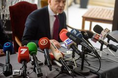 Conferência de imprensa de Ilmars Rimsevics imagens de stock