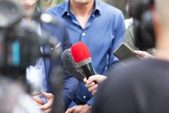 Conferência de imprensa journalism foto de stock