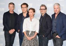 A conferência de imprensa a mais escura do ` da hora do ` com atores e festival de cinema do international de toronto do grupo foto de stock royalty free