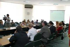 Conferência de imprensa - ministério da integração europeia Foto de Stock Royalty Free
