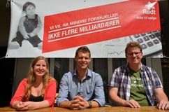 Conferência de imprensa vermelha norueguesa do partido Imagens de Stock Royalty Free