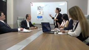 Conferência de negócio em um escritório moderno vídeos de arquivo