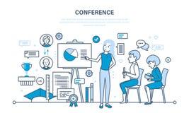 Conferências de negócio de condução, análise estatística dos relatórios de desempenho financeiro ilustração do vetor