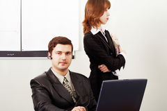 Conference. Group of 2 business people working together in the office Stock Photos