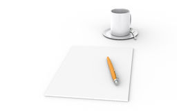 Conference. Blank paper, a pen and a Cup Stock Images