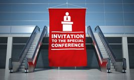 Conference advertising flag and escalators Stock Images