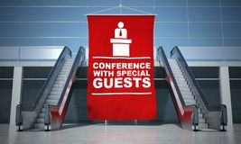 Conference advertising flag and escalators Royalty Free Stock Photography