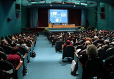 Conference in auditorium stock photography