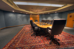 Conference / board room table. The board room table in a conference facility wide angle Royalty Free Stock Photo