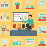 Conference business meeting illustration and icon set Royalty Free Stock Photos