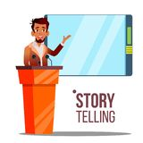 Conference, Business Meeting Speech Cartoon Vector Poster royalty free illustration