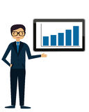 Conference. Businessman in suit shows on the screen with the schedule of success. Business concept Royalty Free Stock Photos