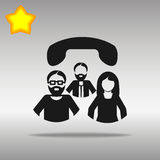 Conference call black Icon button logo. Symbol concept high quality on the gray background vector illustration
