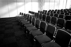 Conference chairs. Black/white picture of black business chairs, ready for a conference Royalty Free Stock Images