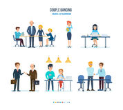 Conference of colleagues company, communication with customers, work on computer. Business people working office concept. Conference of colleagues company Royalty Free Stock Photo