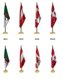 Conference flags. 3d rendered conference flags, office like setting, front and isometric views #4 Royalty Free Stock Photography