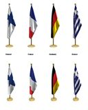 Conference flags. 3d rendered conference flags, office like setting, front and isometric views #3 Royalty Free Stock Images