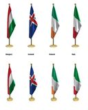 Conference flags. 3d rendered conference flags, office like setting, front and isometric views #2 Stock Photo