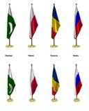 Conference flags. 3d rendered conference flags, office like setting, front and isometric views #8 Stock Photos