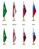Conference flags. 3d rendered conference flags, office like setting, front and isometric views #9 Stock Image