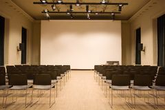 Conference hall. With big screens Stock Photography