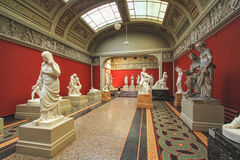 The conference hall with antique sculpture collected by Carl Jacobsen. COPENHAGEN, DENMARK - JUNE 15: One of the rooms with the antique sculptures collected by Royalty Free Stock Images