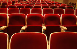 Conference hall interior. Interior of conference hall with red velvet chairs royalty free stock images