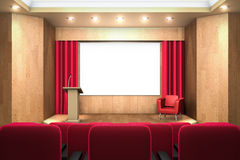 Conference hall with lights on. And screen off Stock Photo